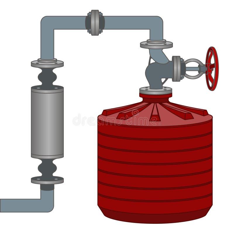 Esquema con el tanque y los tubos de agua Vector libre illustration