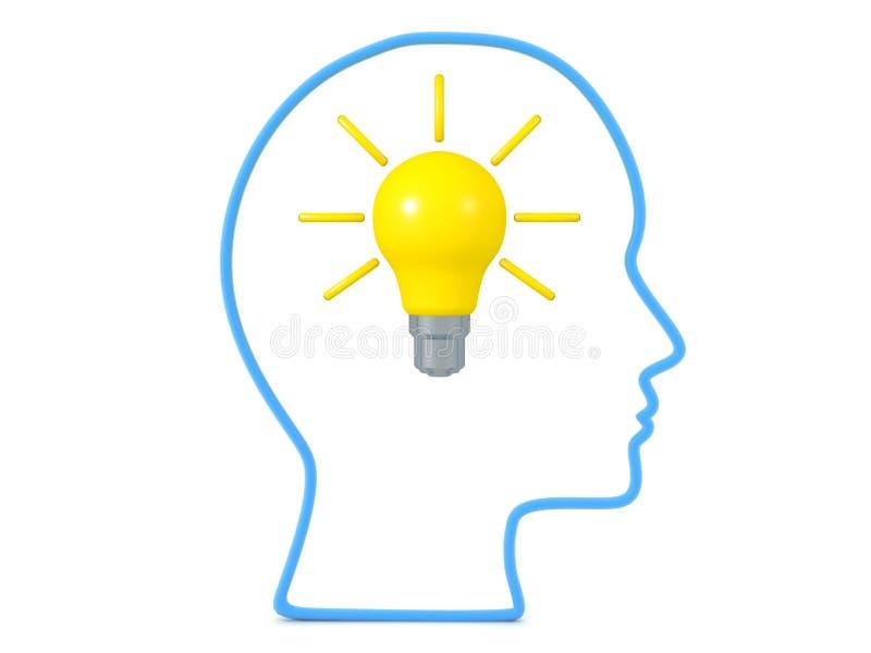 esquema 3D de la cabeza con la bombilla brillante dentro de ella ilustración del vector
