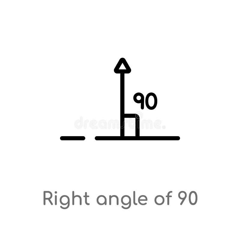 esquema de ?ngulo recto de 90 grados de icono del vector l?nea simple negra aislada ejemplo del elemento del concepto de las form libre illustration
