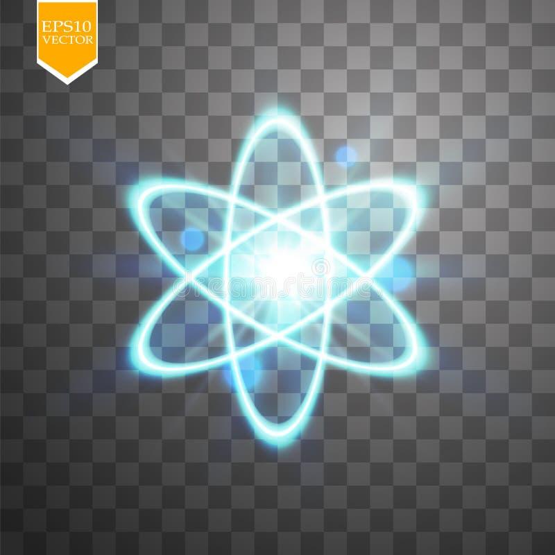Esquema de brilho do átomo no fundo transparente preto Ilustração do vetor, ilustração do vetor