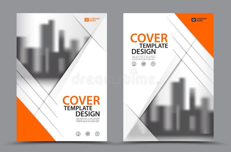 Esquema de color anaranjado con la plantilla del diseño de la cubierta de libro del negocio del fondo de la ciudad en A4 Disposic libre illustration