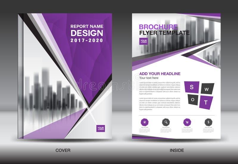 Esquema de color púrpura con el DES de la cubierta de libro del negocio del fondo de la ciudad ilustración del vector