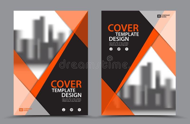 Esquema de cores alaranjado com molde do projeto da capa do livro do negócio do fundo da cidade no A4 Disposição do inseto do fol ilustração stock