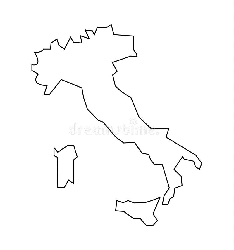 Esquema de Italia del país, aislado en blanco libre illustration
