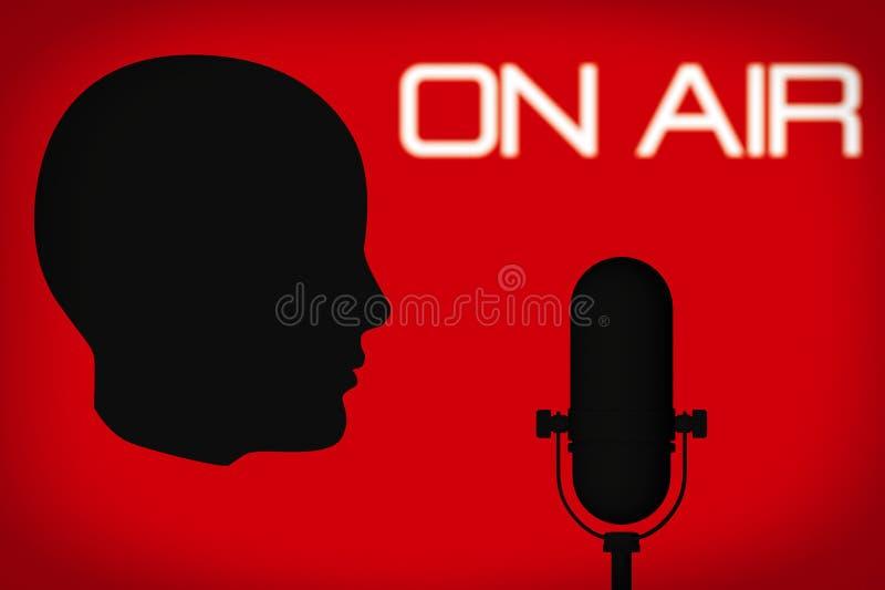 Esquema de la cabeza con el micrófono del vintage y en muestra del aire imagen de archivo libre de regalías