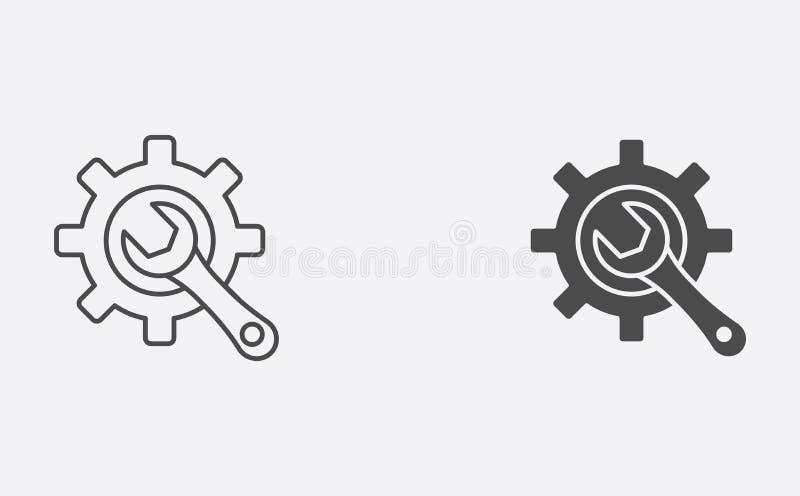 Esquema de la configuración y símbolo llenado de la muestra del icono del vector ilustración del vector