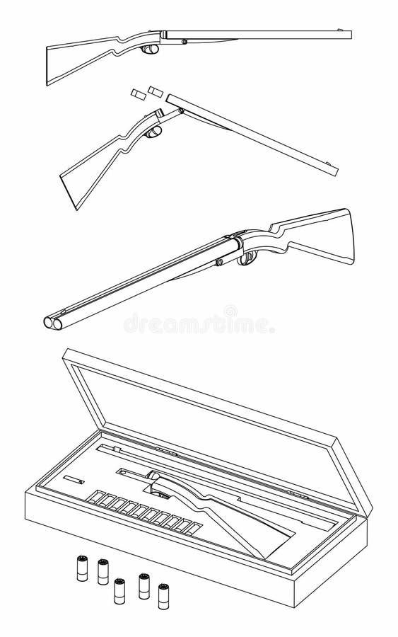 esquema de la escopeta de 12 indicadores solamente ilustración del vector