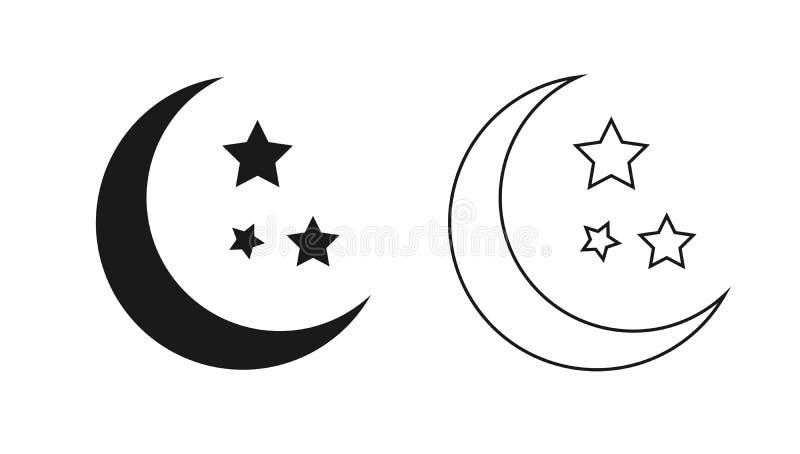 Esquema de la luna y de las estrellas aislado en el fondo blanco libre illustration