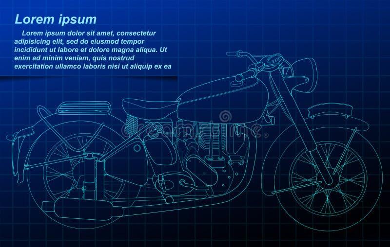 Esquema de la motocicleta en fondo del modelo stock de ilustración