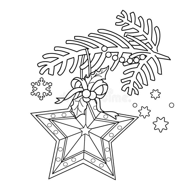 Esquema de la página que colorea de la decoración de la Navidad Estrella Rama de árbol de navidad Año Nuevo Libro de colorear par ilustración del vector