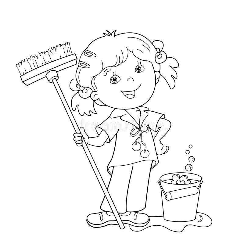 Esquema de la página que colorea de la muchacha de la historieta con la fregona y el cubo libre illustration