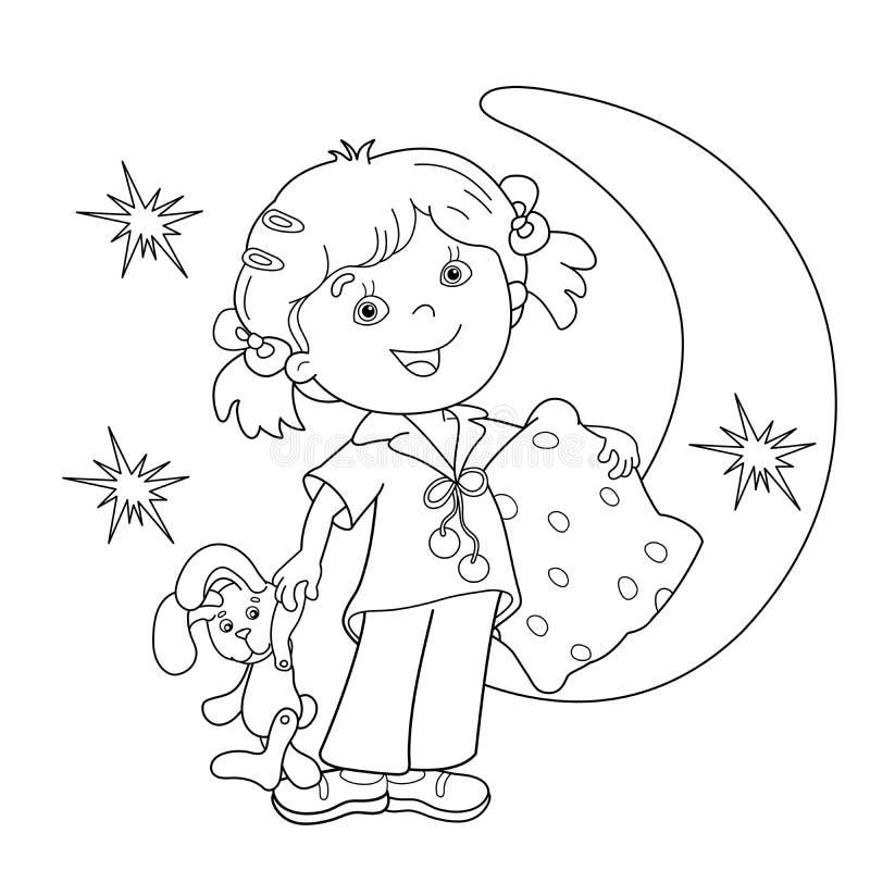 Esquema de la página que colorea de la muchacha de la historieta en pijamas con la almohada stock de ilustración