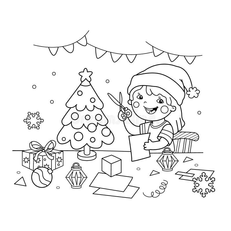 Esquema de la página que colorea de la muchacha de la historieta que hace la Navidad las linternas de papel ilustración del vector