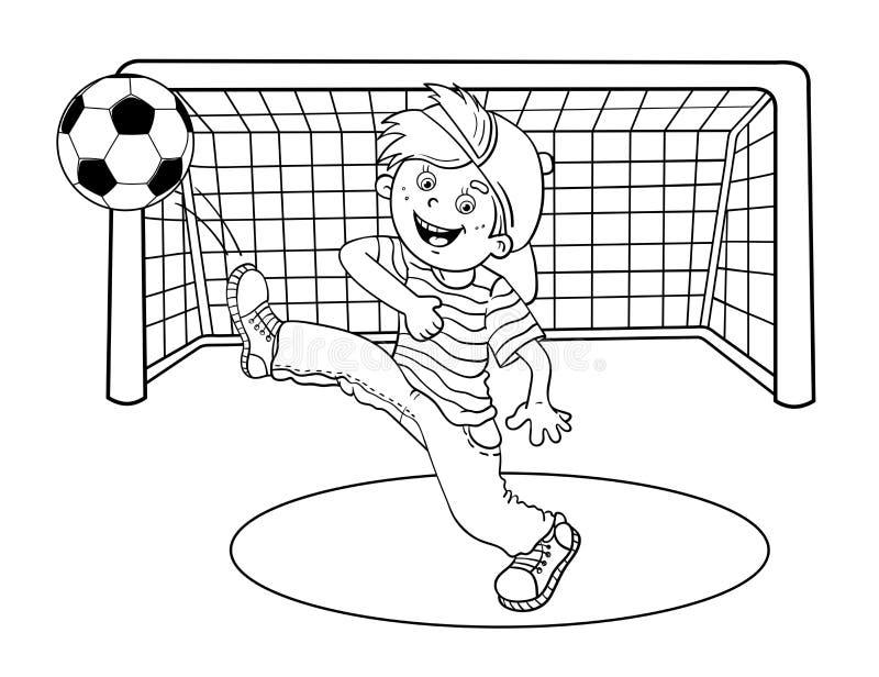 Esquema de la página que colorea de un muchacho que golpea un balón de fútbol con el pie stock de ilustración