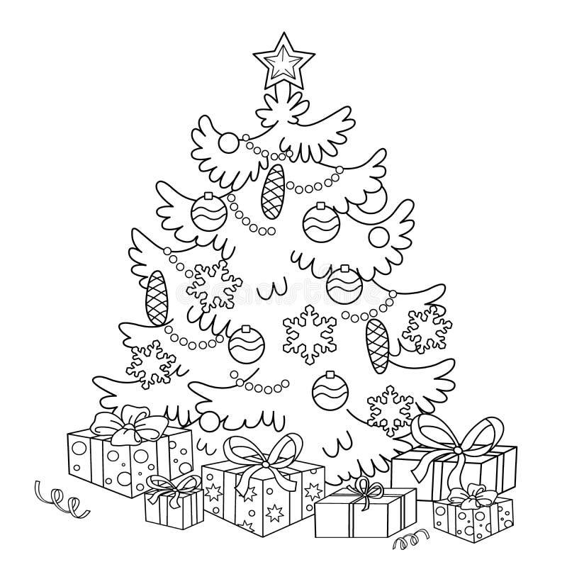 Esquema de la página que colorea del árbol de navidad de la historieta con los ornamentos y los regalos stock de ilustración