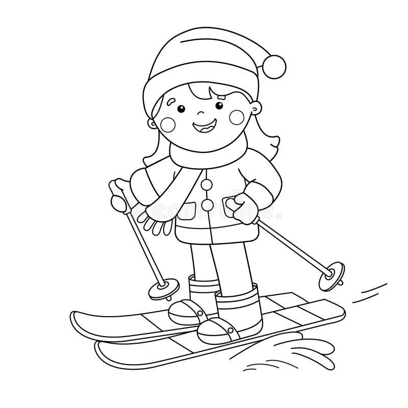 Esquema de la página que colorea del esquí de la muchacha de la historieta Azul, tarjeta, huésped, embarque, ejercicio, extremo,  stock de ilustración
