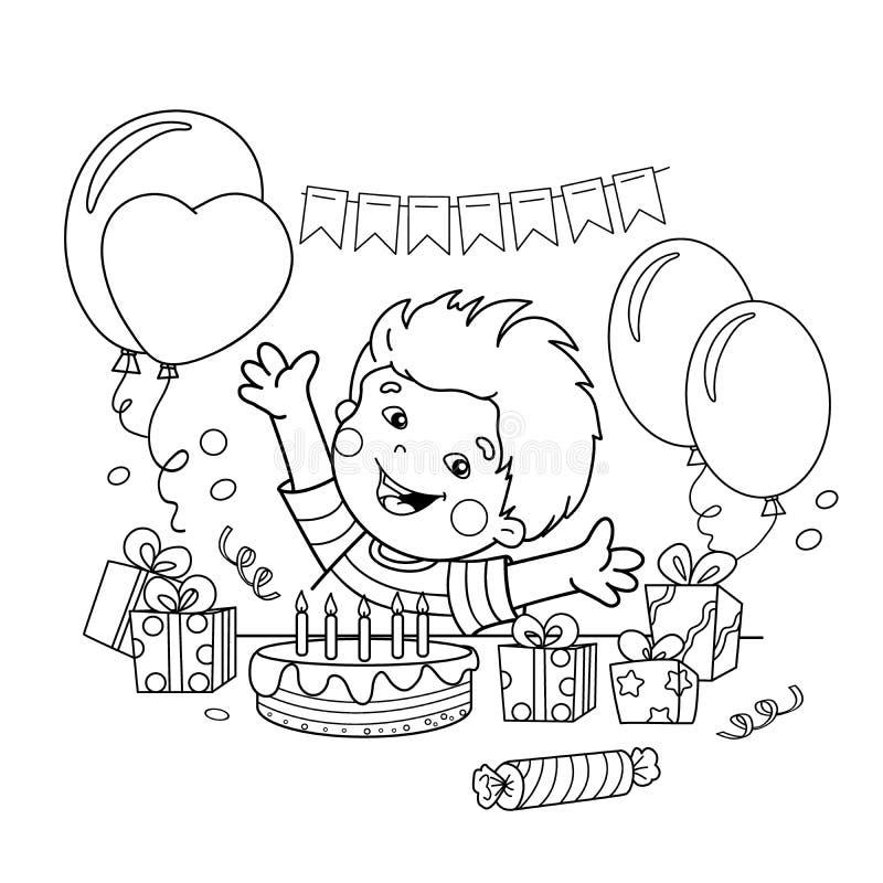 Esquema de la página que colorea del muchacho de la historieta con regalos en el día de fiesta Cumpleaños Libro de colorear para  stock de ilustración