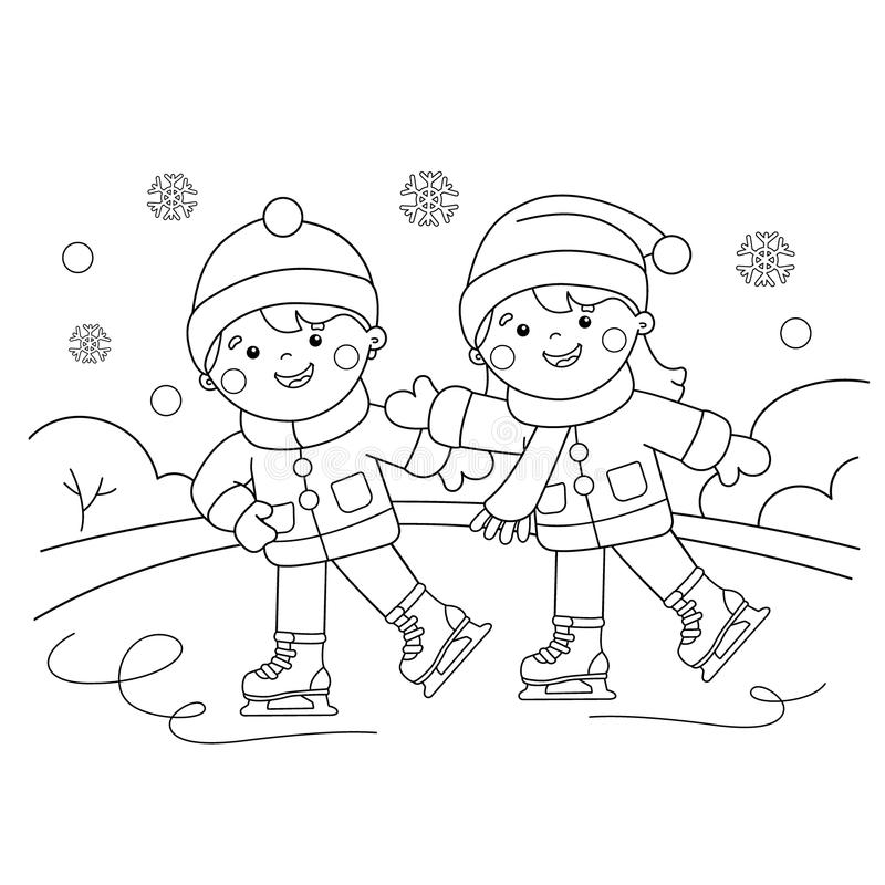Esquema de la página que colorea del muchacho de la historieta con el patinaje de la muchacha Azul, tarjeta, huésped, embarque, e stock de ilustración