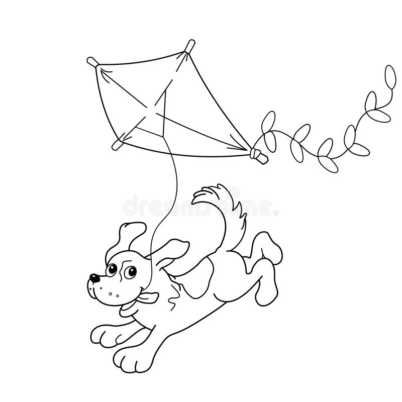Esquema de la página que colorea del perro de la historieta con una cometa Libro de colorante stock de ilustración