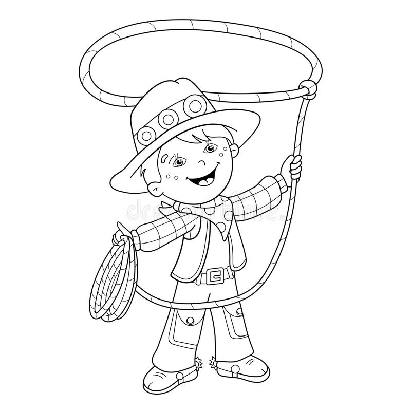 Esquema de la página que colorea del vaquero de la historieta con el lazo stock de ilustración