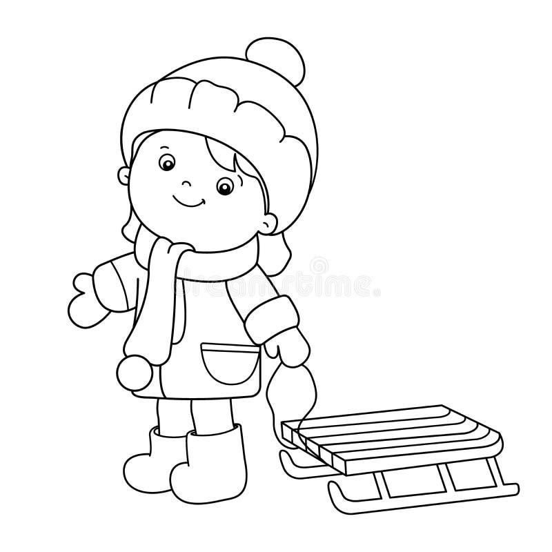 Esquema de la página que colorea de la muchacha de la historieta con el trineo Invierno stock de ilustración
