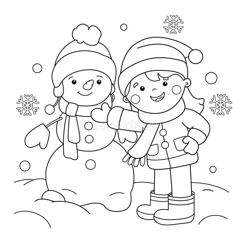 Esquema de la página que colorea de la muchacha de la historieta que hace el muñeco de nieve Invierno ilustración del vector