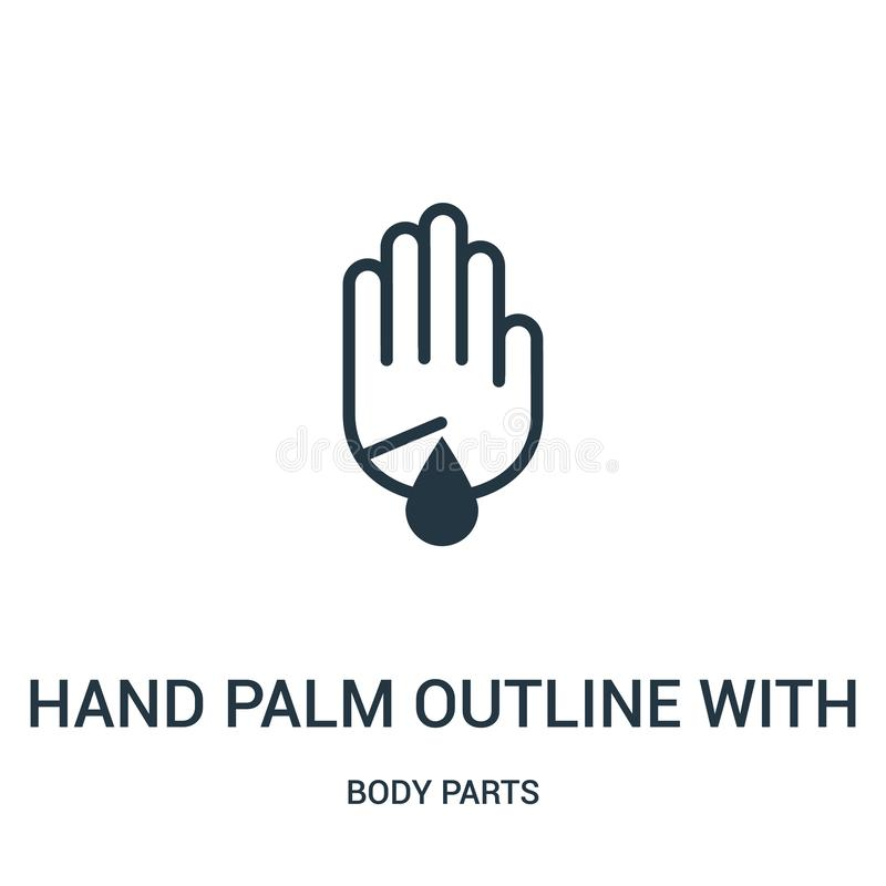 esquema de la palma de la mano con la herida del rasguño con vector del icono de la gotita de la sangre de la colección de las pa stock de ilustración