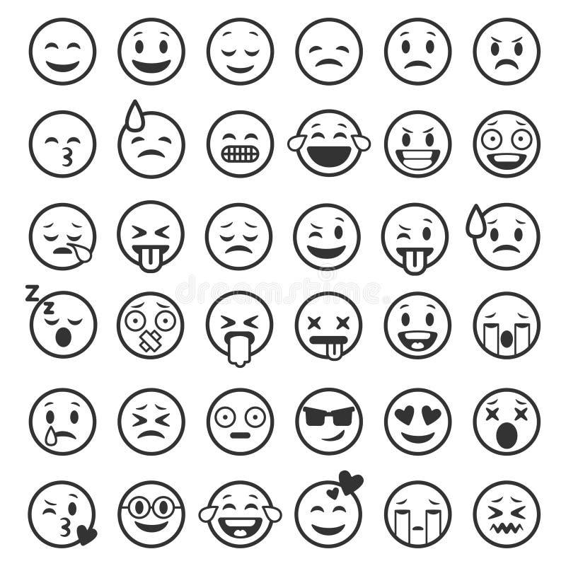 Esquema de los Emoticons Emoji hace frente a la l?nea divertida humor facial sonriente de la sonrisa del emoticon del humor de la ilustración del vector
