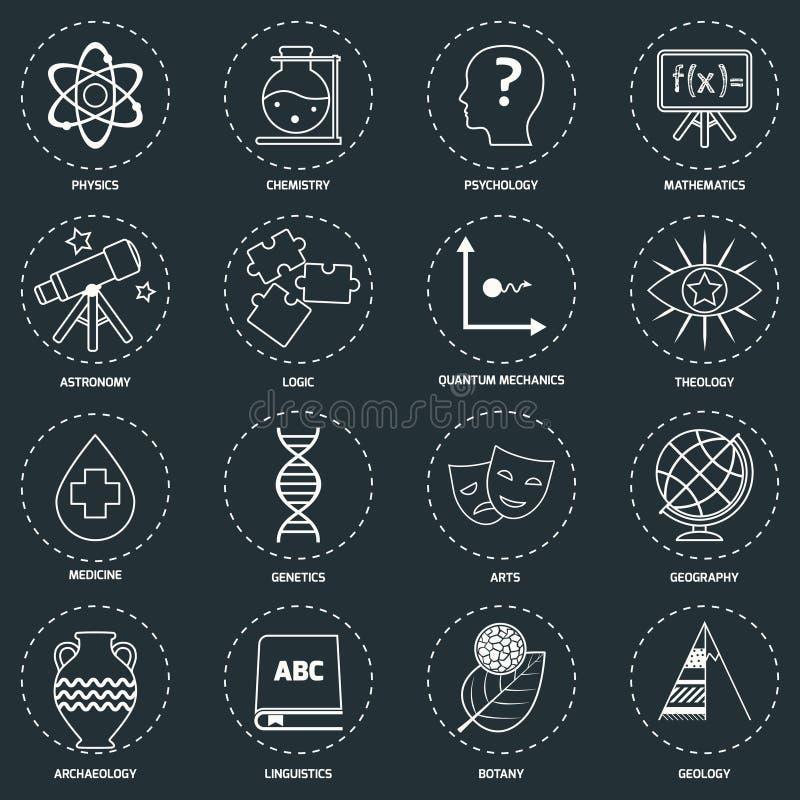 Esquema de los iconos de las áreas de la ciencia ilustración del vector