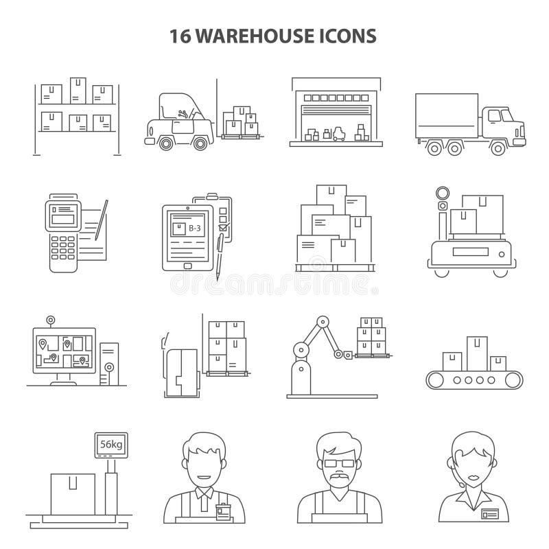 Esquema de los iconos de Warehouse stock de ilustración