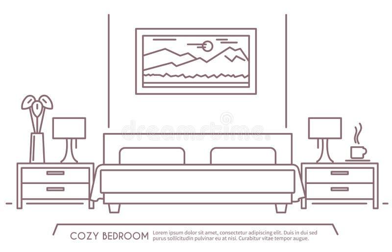Esquema de los muebles del dormitorio stock de ilustración