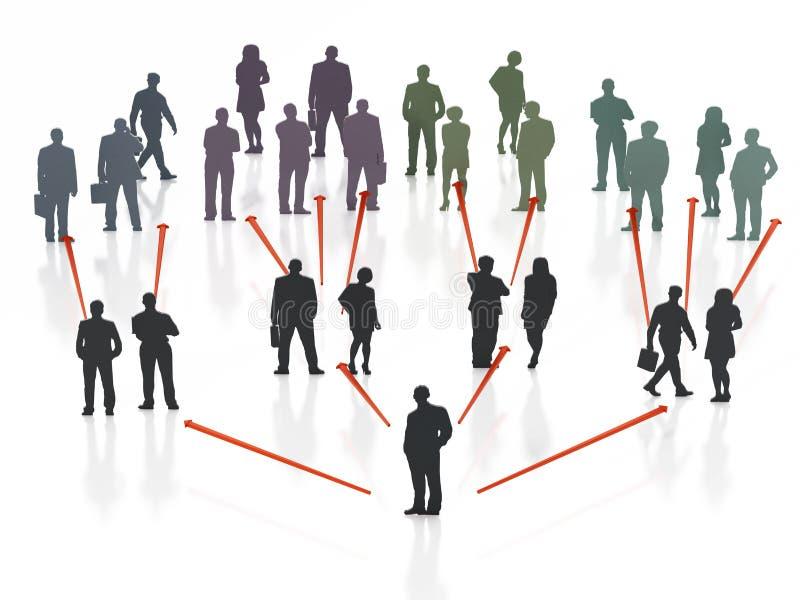 Esquema de organización de hombres de negocios ilustración 3D stock de ilustración