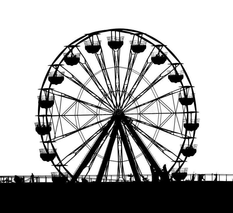 Esquema de una pequeña rueda de Ferris stock de ilustración