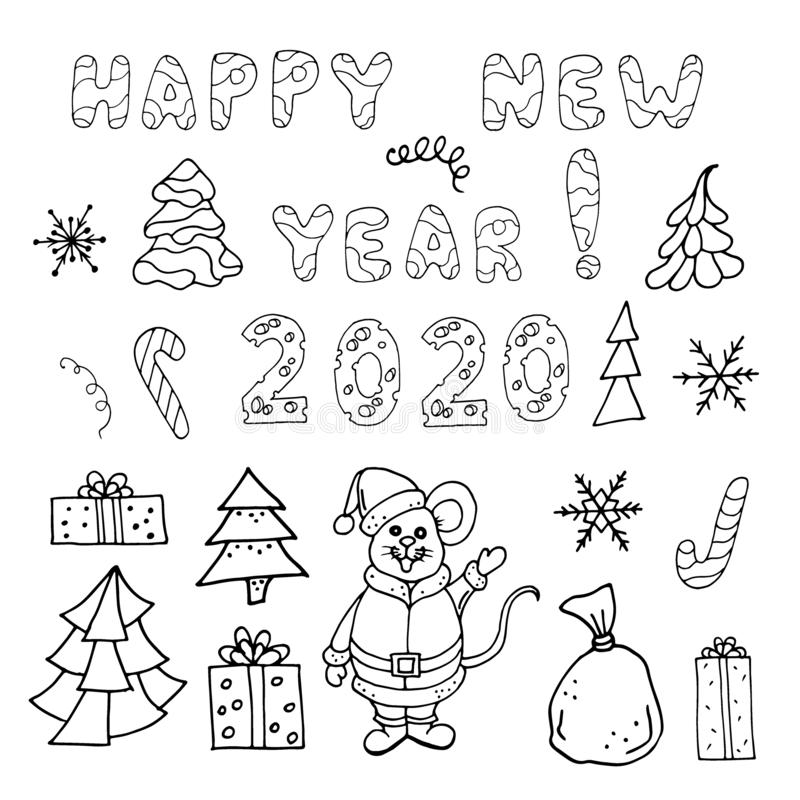 Esquema del Año Nuevo stock de ilustración
