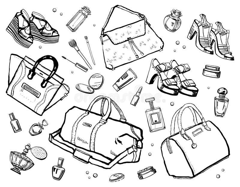 Esquema del bosquejo fijado con los accesorios femeninos Perfumes, bolsos, cosméticos y zapatos Ilustración drenada mano del vect ilustración del vector