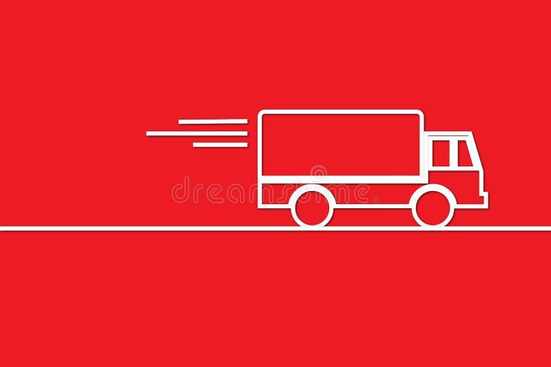 Esquema del camión en rojo ilustración del vector