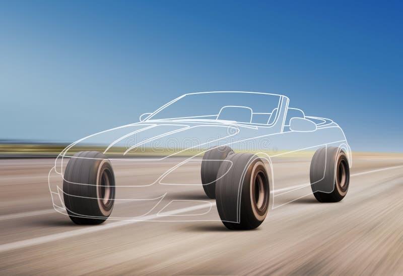 Esquema del coche en el camino stock de ilustración