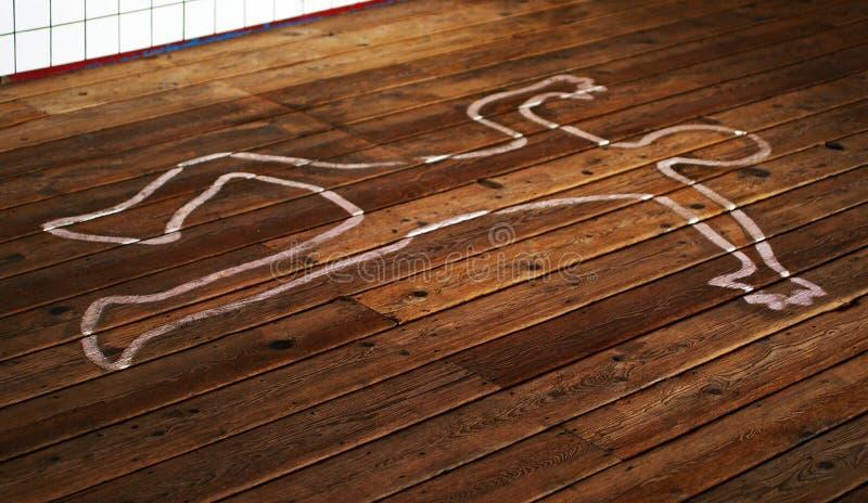 Esquema del cuerpo en piso fotografía de archivo libre de regalías