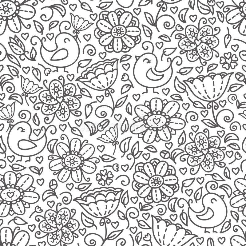 Esquema del estampado de flores ilustración del vector