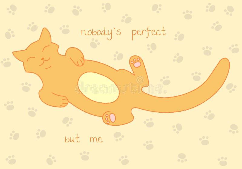 Esquema del gato, silueta del minino Imagen estilizada del vector Nadie ` s perfecto pero yo libre illustration