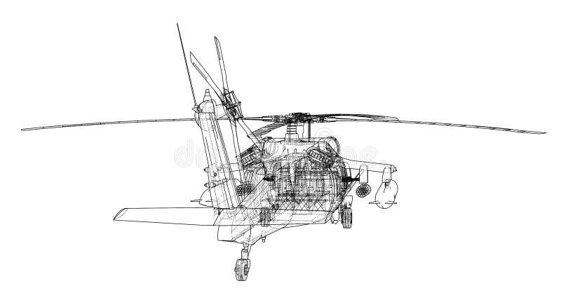 Esquema del helicóptero Equipo militar ilustración del vector