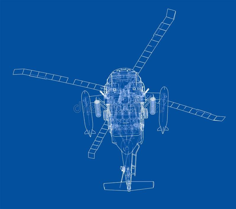 Esquema del helicóptero Equipo militar stock de ilustración