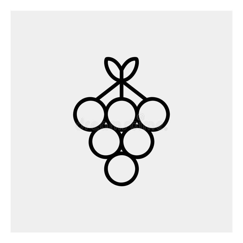 Esquema del icono de las uvas stock de ilustración