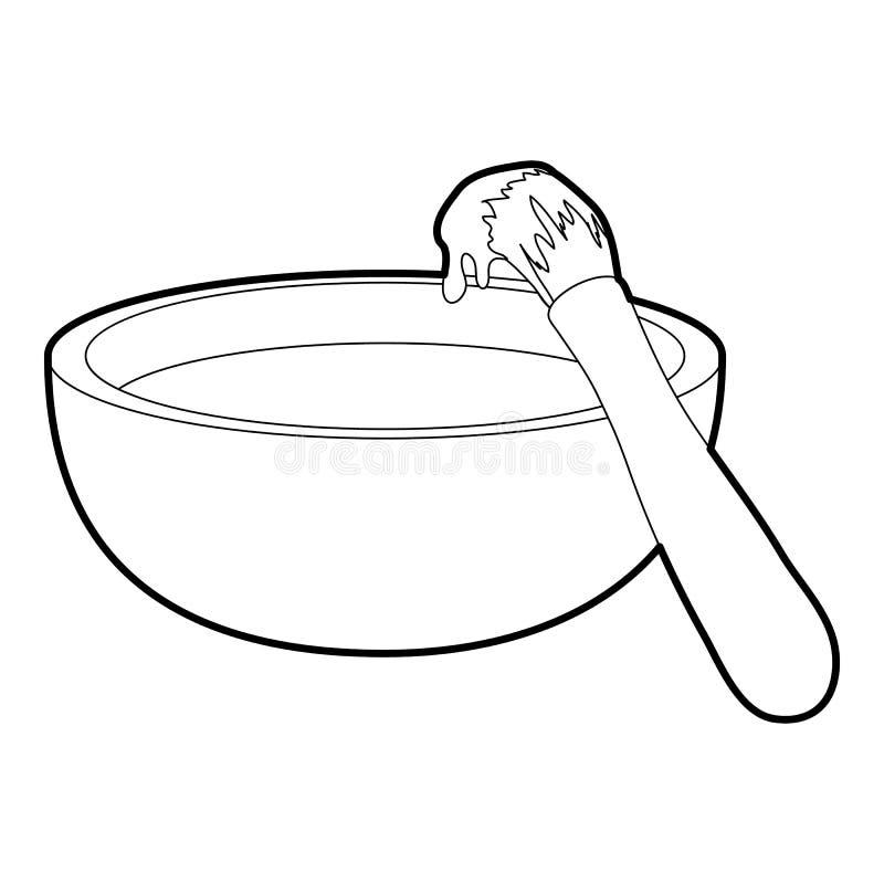 Esquema del icono del cepillo de la barbacoa libre illustration