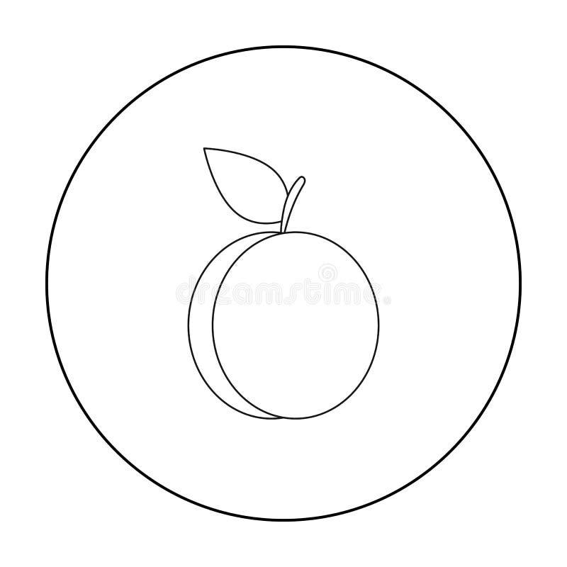 Esquema del icono del ciruelo Icono de la fruta de la chamusquina stock de ilustración