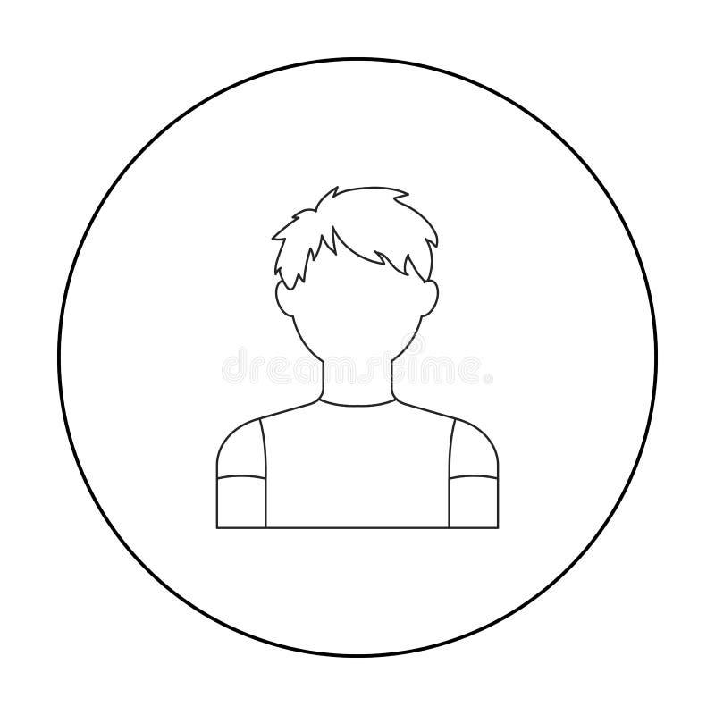 Esquema del icono del muchacho del pelirrojo Solo avatar, icono del peaople del esquema grande del avatar libre illustration