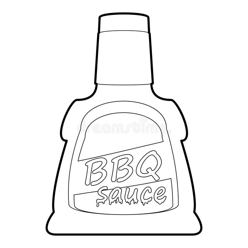 Esquema del icono del sause de la barbacoa ilustración del vector