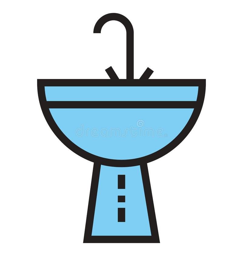 Esquema del lavabo e icono aislado llenado del vector que pueden ser corregidos o ser modificados fácilmente ilustración del vector