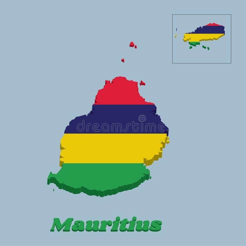 esquema del mapa 3D y bandera de Mauricio, cuatro bandas horizontales de amarillo azul y verde rojos libre illustration