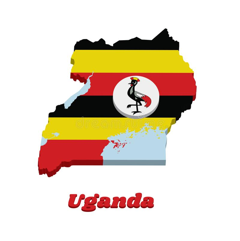 esquema del mapa 3D y bandera de Uganda, bandas horizontales de amarillo y rojo negros; un disco blanco representa el símbolo nac